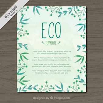 Cute watercolor hand drawn leaves ecological flyer