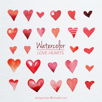 Cute watercolor hearts