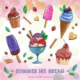 귀여운 수채화 아이스크림