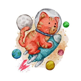 Cute watercolor illustration of cat and rocket