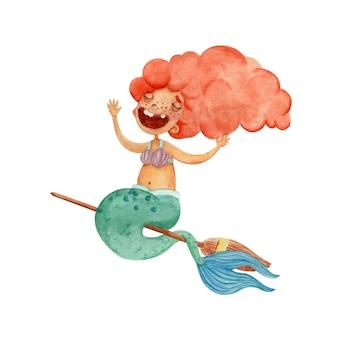 빗자루에 비행 작은 인어와 귀여운 수채화 그림