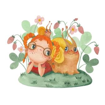 女の子とカタツムリのイチゴとかわいい水彩イラスト