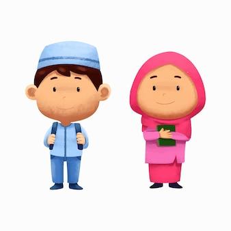 学校に戻るかわいい水彩画イスラムの子供たちのキャラクター