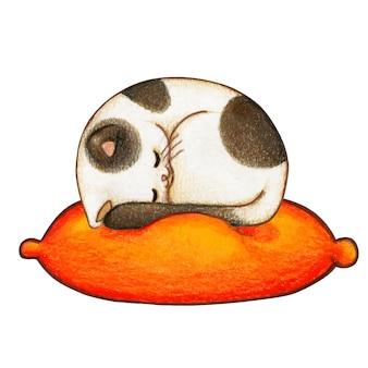 Милый акварельный котенок спит на подушке