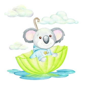 A cute watercolor koala sits in an umbrella against the background of puddles and clouds