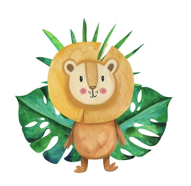 Симпатичный акварельный лев мультипликационный персонаж