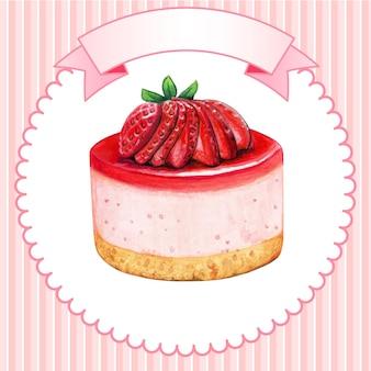 귀여운 수채화 미니 딸기 치즈 케이크