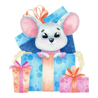 Cute watercolor mouse with gifts.