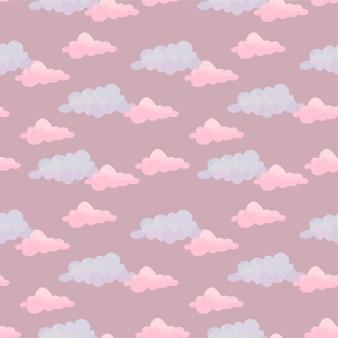 구름과 귀여운 수채화 패턴