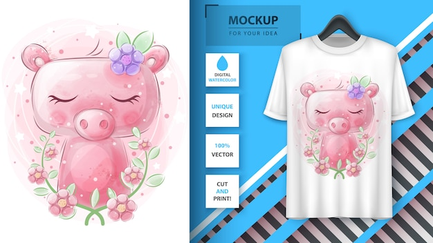 Cute watercolor pig poster and merchandising