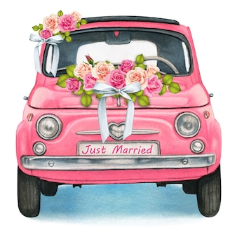 Cute watercolor pink shiny vintage car, wedding day