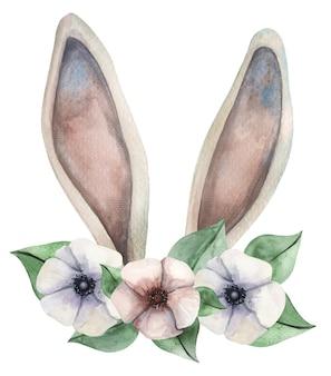 Симпатичные акварельные кроличьи уши с цветочным венком на пасху.