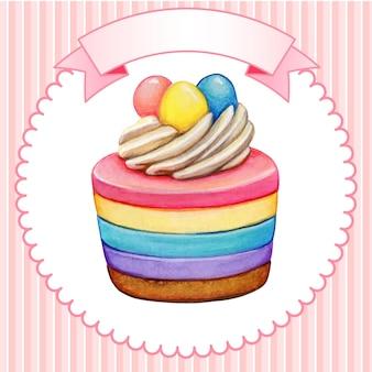 귀여운 수채화 무지개 치즈 케이크
