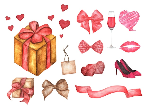 Cute watercolor romantic illustration set of design elements for valentine's day.