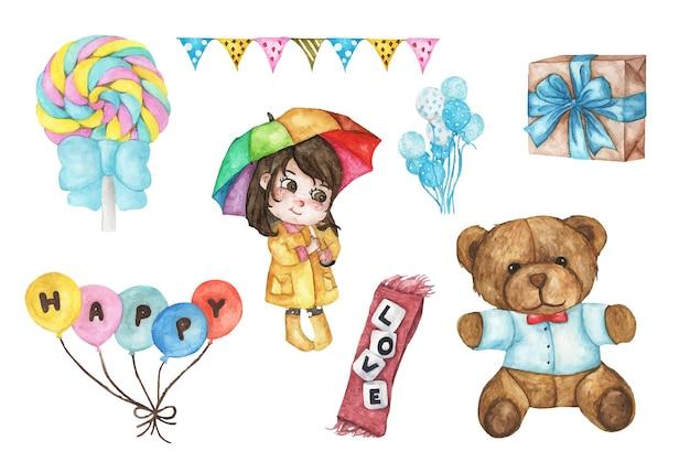 Cute watercolor romantic illustration set of design elements.