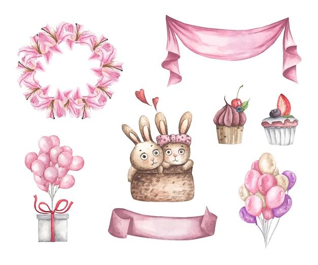 バレンタインデーのデザイン要素のかわいい水彩ロマンチックなイラストセット。