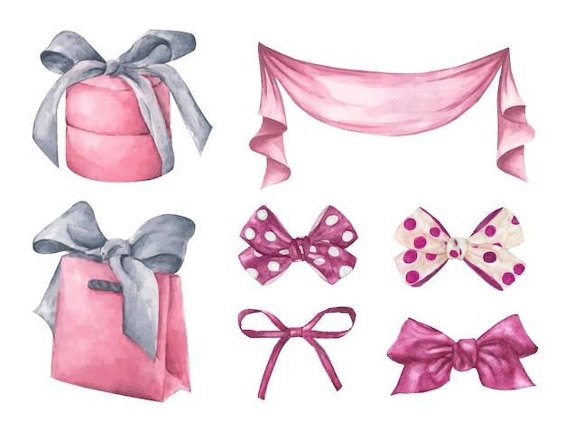 Симпатичные акварель романтические иллюстрации набор элементов дизайна.