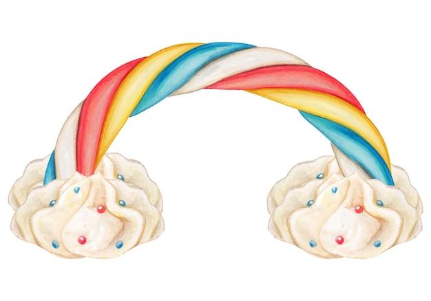 귀여운 수채화 둥근 무지개 마시멜로