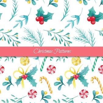 かわいい水彩画のシームレスなクリスマスパターン