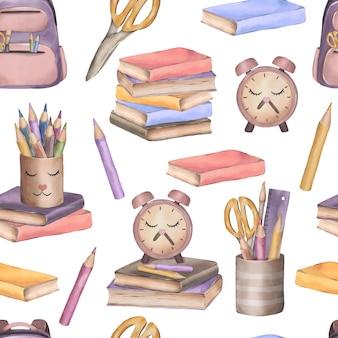 Симпатичная акварель бесшовные модели со школьными принадлежностями обратно в школу