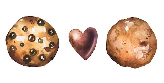 ブラウニーチョコレートクッキーとハートスウィートがセットになったかわいい水彩画。