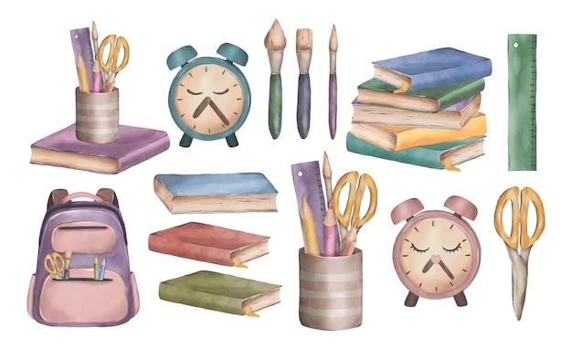 Симпатичный акварельный набор со школьными принадлежностями снова в школу иллюстрации