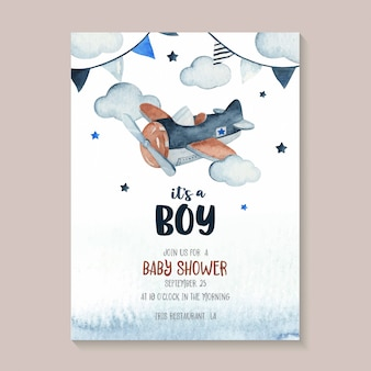 Cute watercolor sky scene illustration complete with airplane, garland, star and cloud. perfect for baby shower invitation card
