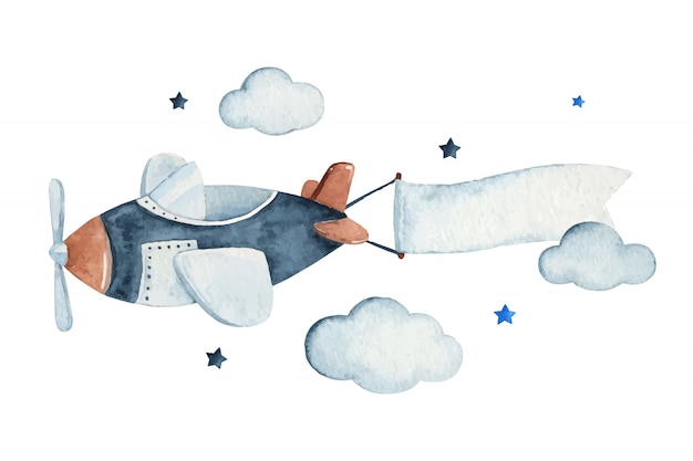 Cute watercolor sky scene with air plane, clouds and stars, watercolor hand drawn illustration.