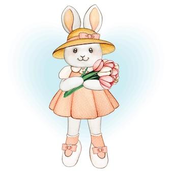 チューリップの花束、ピンクのドレス、干し草の帽子とかわいい水彩画の春のウサギ