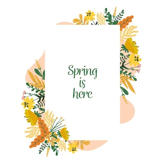 Cute watercolor spring floral frame