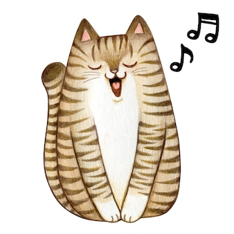 Cute watercolor tabby kitten singing