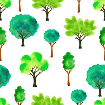 かわいい水彩の木。春のシームレスなパターン。