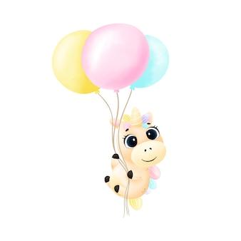 Милый акварельный единорог летит на воздушных шарах.