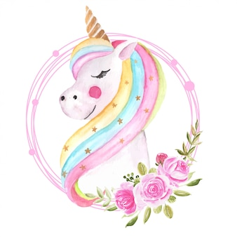 Cute watercolor unicorn with floral wreath