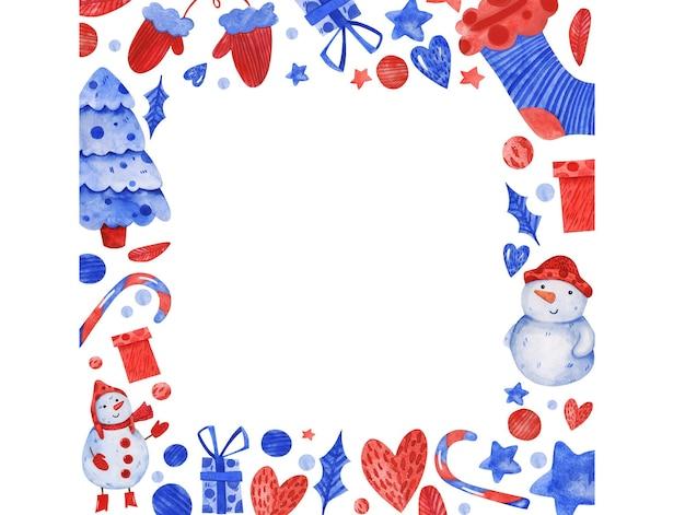 Cute watercolor vector christmas border frame