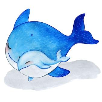 かわいい水彩クジラ家族母と息子の抱擁