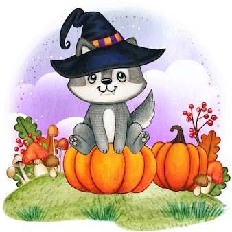 Cute watercolor wolf puppy with witch hat sitting on a pumpkin
