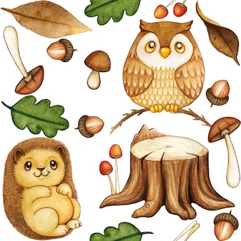 Cute watercolor woodland pattern with owl and hedgehog