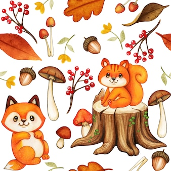 Cute watercolor woodland pattern with squirrel and fox