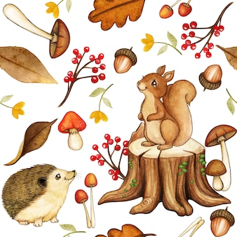 Cute watercolor woodland pattern with squirrel and hedgehog