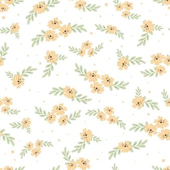 かわいい水彩黄色コスモス花のシームレスパターン