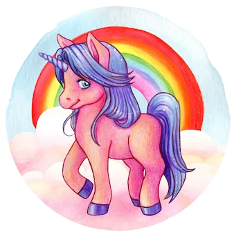 Cute watercolorpink and violet unicorn with rainbow