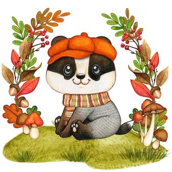 Симпатичный акварельный барсук с шапкой и шарфом, осенний сезон