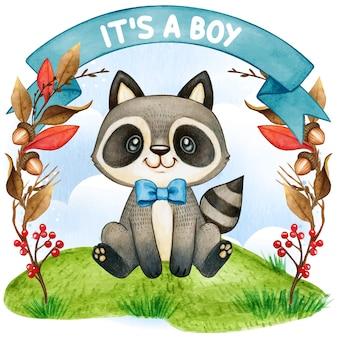 Милый енот, сидящий акварелью. это мальчик, иллюстрация детского душа