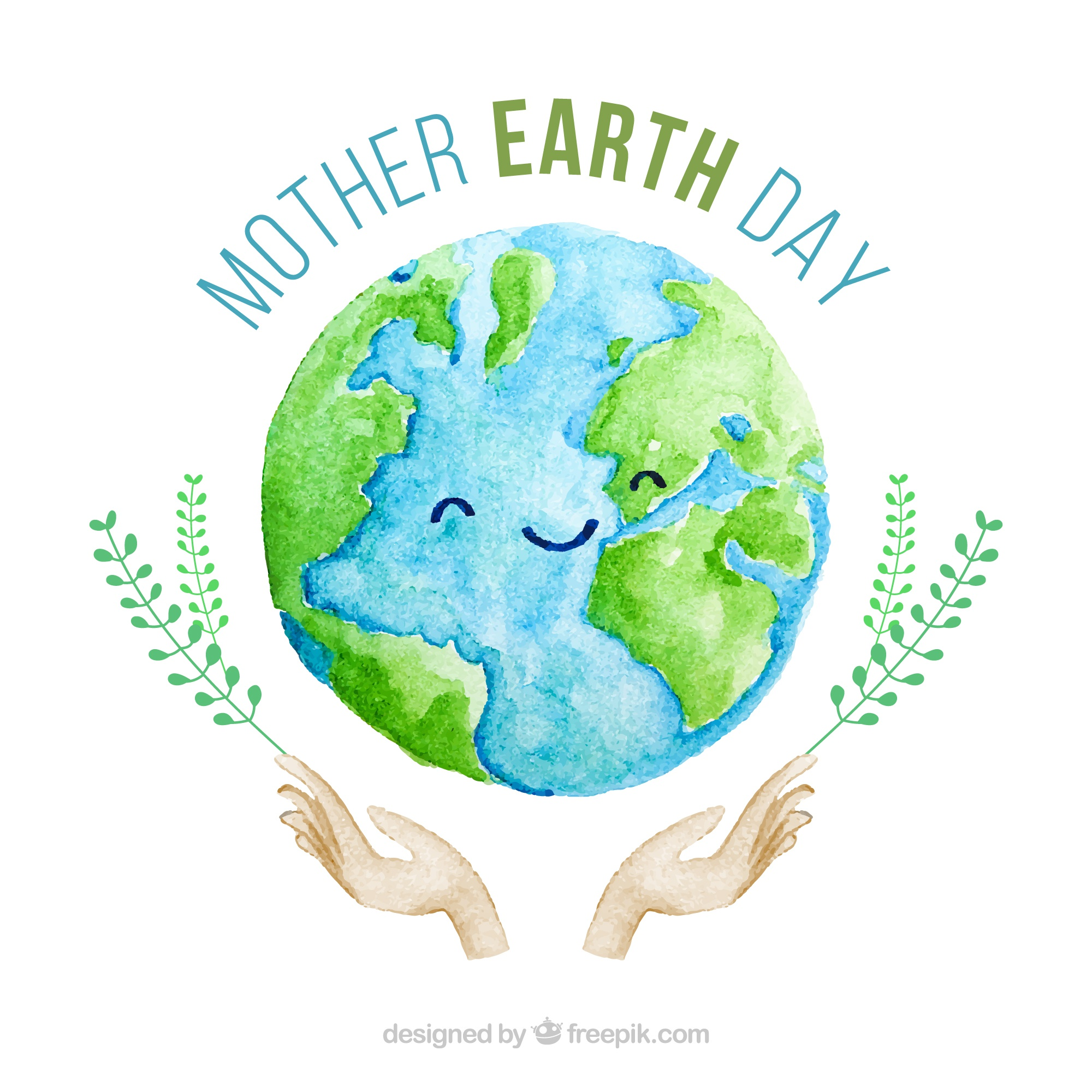 Cute watercolour background for the mother earth day