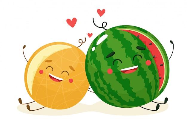 귀여운 수박과 멜론. 행복한 과일. 만화 플랫 스타일의 일러스트 레이 션.