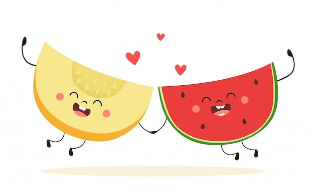 Милый арбуз и дыня вместе. счастливые фрукты с сердечками. иллюстрация в мультяшном стиле.