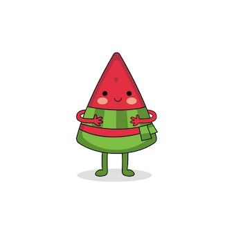 スカーフを身に着けているかわいいスイカの漫画のキャラクター