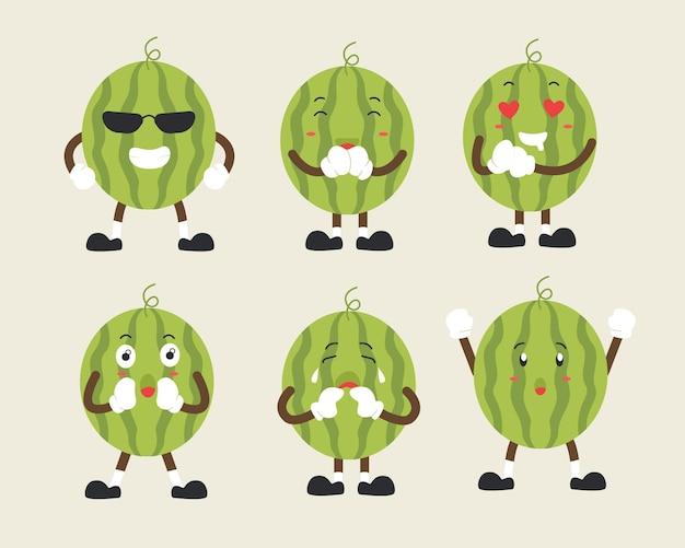 여러 표정의 귀여운 수박 캐릭터 세트