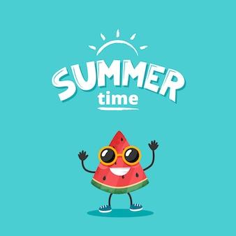 夏のレタリングとかわいいスイカのキャラクター。フラットスタイルのベクトル図